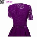 여름 레이스 둥근 목 간결 소매 형식 여자 복장 L36176-1