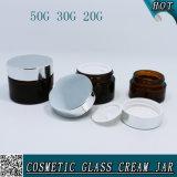20g 30g 50g de AmberKruik van het Glas met het Zilveren Deksel van het Metaal
