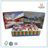 Zoll gedruckter Weihnachtspapier-Geschenk-Kasten mit Karten-Einrichtung