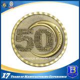 Pièce de monnaie en laiton antique promotionnelle de l'enjeu 3D avec le bord de diamant