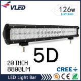 5D 126W 20 fascio combinato movente fuori strada diritto dell'inondazione del punto della lampada della barra chiara di pollice LED