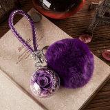 Ivenran preservó la flor fresca llavero púrpura de la bola para el presente y la decoración