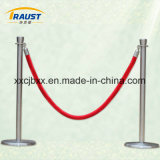 Poste de control derecho de muchedumbre de la exposición, barrera del pasamano de la seguridad con las cuerdas
