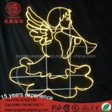 O anjo iluminado diodo emissor de luz morno ao ar livre do branco com motivo de néon do chifre Ornaments a luz para a decoração da rua do Natal