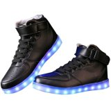 Luz LED hasta Formadores Negro Blanco-top zapatos casuales para adultos