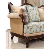 Strato classico classico della sede di amore dell'oggetto d'antiquariato del sofà del tessuto con il blocco per grafici di legno per il salone
