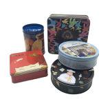 건빵 주석 상자 도매 케이크를 위한 둥근 장방형 모양 식품 포장 상자