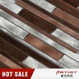 Rotwein-Farben-langes und kurzes Streifen-Aluminiummosaik