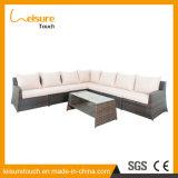 Insieme dell'interno/esterno della stanza di seduta del giardino della mobilia di salotto delle presidenze del rattan dell'angolo del sofà