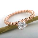 Accesorios de moda Joyería parejas Tejido Oro Rosa Anillo de diamantes