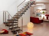 Escalera de cristal de acero de Intererior, escalera de cristal de acero moderna, vidrio de interior que cerca las escaleras