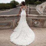 Robe nuptiale V de collet de la sirène de mariage intégral sans bretelles de lacet