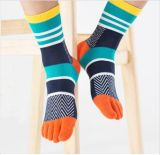 Яркий яркий цвет Stripes носок 5 пальцев ноги