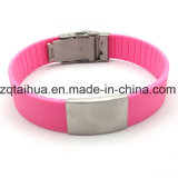 Wristband de prata do silicone do aço inoxidável do esmalte com Thb-057