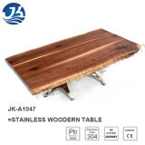 Нержавеющий деревянный самомоднейший журнальный стол в реальном маштабе времени края 2016 (JK-A1047)