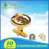 Gemelli d'ottone personalizzati del metallo rotondo di promozione di modo con il marchio dello smalto
