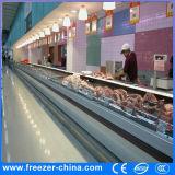 Refrigerador aberto comercial do indicador da carne fresca/marisco