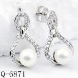 新しいモデルの銀の宝石類の真珠のイヤリングの工場卸売