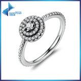 Silberner runde Form-leuchtender Blumen-Finger-Ring