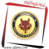 Plaqué en argent plaqué or Forme ronde avec motif d'ailes Gold Soft Enamle Souvenir Coin