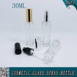 Botella de cristal del perfume cosmético redondo de 1 onza con la niebla 30ml del aerosol