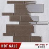 装飾のブラウンホームカラー物質的な厚さ8つのmmのガラスモザイク・タイルAmhs017j