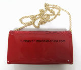 Red Croco Patent PU Leather Patchwork Women Should Chain Clutch Bag