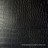 Cuero negro del cocodrilo del Faux del PVC