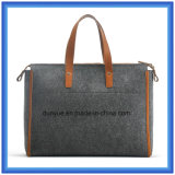 Мешок руки покупкы шерстей Felt+PU просто конструкции Eco-Friendly портативный кожаный, подгонянный мягкий мешок Tote с кожаный удобной ручкой