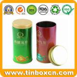 De ronde Thee van het Tin kan voor de Verpakking van de Theebus, de Doos van het Tin