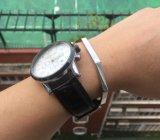 Bracelet ouvert de forme de la géométrie de bracelet de manchette de grand dos de bijou d'acier inoxydable