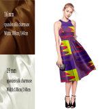 La soie réelle de nature a estampé le tissu en soie de Charmeuse d'extension pour la robe de dames