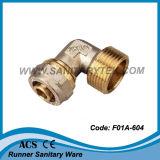 Encaixe de bronze da compressão para a tubulação Multilayer - macho do cotovelo (F01A-604)