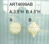 "3.5 "" H, 4.5 "" H White Crochet & Gold Bead Ball, 2asst, - Chritmas Ornament"