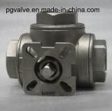 Шариковый клапан нержавеющей стали CF8m продетый нитку 1000wog трехходовой