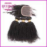 Les cheveux humains bouclés profondément crépus normaux de 3 paquets de couleur tissent avec la fermeture de lacet