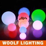 Bola redonda impermeable al aire libre del plástico LED del RGB de la piscina