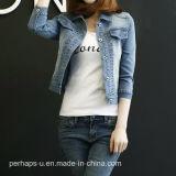 Пальто женщины куртки джинсовой ткани женщин высокого качества классицистическое ретро тонкое