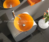 Vaidade italianas do banheiro do PVC do estilo com a bacia de vidro alaranjada