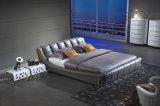 가정 가구 현대 덮개를 씌운 가죽 침대 Hc315 최신 판매