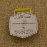 Médaille faite sur commande du football d'école en métal avec le logo d'école