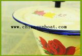 Tazón de fuente grande de la talla del esmalte con la cubierta