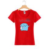 T-shirt fait sur commande en gros de bonne qualité de femmes d'été d'impression de mode de coton