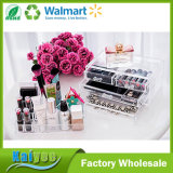 Organizador de cosméticos de maquillaje de acrílico 4 cajones con la sección superior