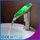 Fyeer New Nickle Brushed Hydro Power Waterfall LED Sensor Basin Faucet