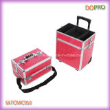 Rosa Krokodil PVC 4 in 1 Roll Beauty Case on Wheels (SATCMC010)