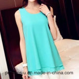 Sleeveless Chiffon Blouse Simple와 사나운 느슨한 t-셔츠 숙녀