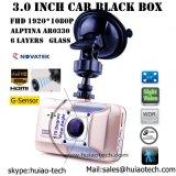 Caixa negra quente do carro 3.0inch com o processador central cheio do carro DVR de HD1080p Novatek 96650
