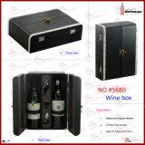 Роскошная кожаный коробка подарка бутылки вина (5390)