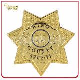 Insigne personnalisé de police plaqué par or en métal d'officier pour le service militaire